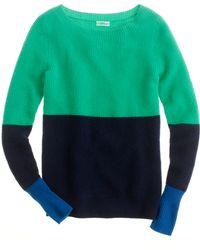 J.Crew Cashmere Waffle Colorblock Sweater - Lyst