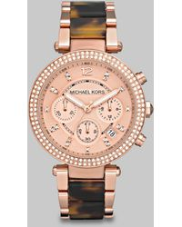 Michael Kors Parker Rose Goldtone Stainless Steel & Tortoise-Print Acetate Chronograph Bracelet Watch - Lyst