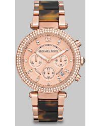 Michael Kors Parker PavÉ Rose Goldtone Stainless Steel & Tortoise-Print Acetate Chronograph Bracelet Wat - Lyst