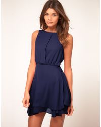 ASOS Collection Asos Sleeveless Mini Dress with Double Skirt blue - Lyst