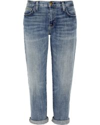 Current/Elliott The Boyfriend Cropped Low-rise Tapered Jeans - Lyst