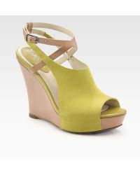 Cole Haan Air Gilda Suede and Leather Wedge Sandals - Lyst