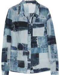 Emma Cook - Denim-print Silk and Cotton-blend Shirt - Lyst