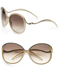 Roberto Cavalli Cedro Round Metal Accented Plastic Sunglasses/havana - Lyst