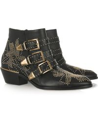 Chloé Susanna Studded Leather Ankle Boots black - Lyst