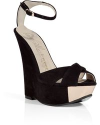 Le Silla Black Suede Wedge Sandals - Lyst