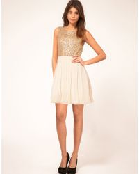 TFNC Babydoll Dress with Sequin Bodice gold - Lyst