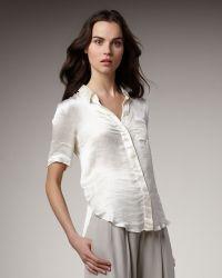 Theory Washed Satin Short-sleeve Blouse - Lyst