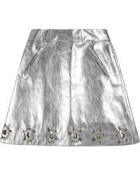 Felder Felder - Jill Embellished Metallic Leather A-line Skirt - Lyst