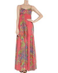 Halston Heritage Coral-print Silk-chiffon Maxi Dress - Lyst