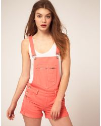ASOS Collection - Asos Denim Dungaree Shorts in Peach Red - Lyst