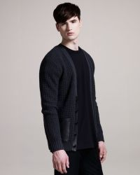 Givenchy - Leather-pocket Waffle Cardigan - Lyst