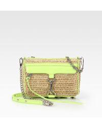 Rebecca Minkoff Mini Mac Raffia and Patent Leather Convertible Clutch - Lyst