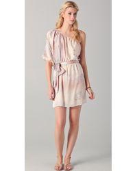 Rebecca Taylor Sunset Birds One Shoulder Dress - Lyst