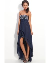 Way-in   Sequin & Chiffon Strapless Gown   Lyst