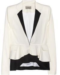 Preen By Thornton Bregazzi Contrast Ripple Wool-twill Jacket white - Lyst