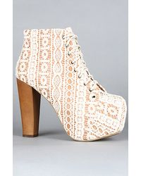 Jeffrey Campbell The Lita Shoe in Beige Lace and Tan Macrame - Lyst