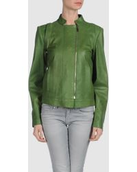 Piazza Sempione Leather Outerwear green - Lyst