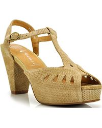 Jeffrey Campbell Cathy - Tan Nubuck Perforated Sandal - Lyst