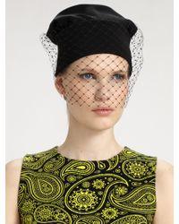 Jil Sander Veiled Knit Hat black - Lyst
