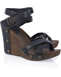 See By Chloé Leather and Wood Wedge Sandals - Lyst