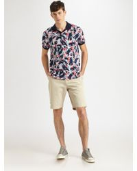 Lacoste Printed Cotton Polo - Lyst