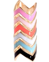 ASOS Collection Asos Pack Of Six Enamel Zig Zag Rings multicolor - Lyst