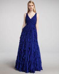 ML Monique Lhuillier V-neck Ruffle-skirt Gown - Lyst