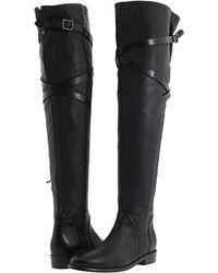 Burberry Grainy Leather Over The Knee Boots black - Lyst