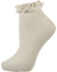 Topshop Cream Lace Trim Ankle Socks - Lyst