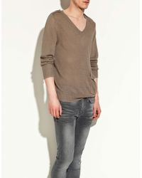 Zara Linen Sweater with Epaulettes - Lyst
