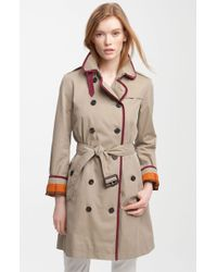 Burberry Brit Trench Coat with Contrast Trim - Lyst