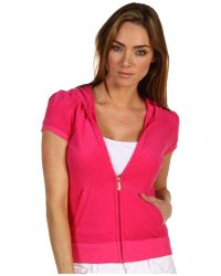 Juicy Couture Micro Terry Puff/short Sleeve Hoodie - Lyst