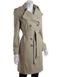 Calvin Klein Tan Brushed Cotton Blend Double Breasted Trench - Lyst