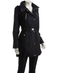 Laundry by Shelli Segal - Navy Cotton Blend Utility Trench Coat - Lyst