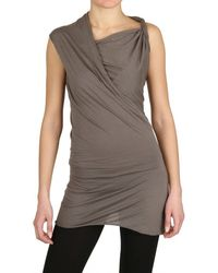 Rick Owens Heavy Viscose Cotton Jersey Top - Lyst