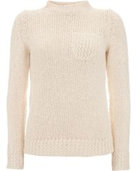 A.P.C. Cream Knitted Pocket Jumper - Lyst
