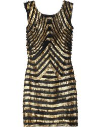 Gucci Metallic-striped Fringed Leather Dress gold - Lyst
