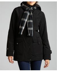 London Fog Black Water-resistant Hooded Jacket with Scarf - Lyst