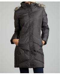 London Fog Gunmetal Quilted Down Faux Fur Trimmed Hooded Jacket - Lyst