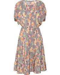 Tucker - Floral-Print Silk Dress - Lyst