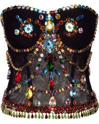 Dolce & Gabbana Crystal-embellished Stretch-tulle Bustier - Lyst