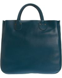 Barneys New York Blue Leather Tote - Lyst