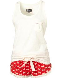 TOPSHOP - Dog Print Vest and Short Set - Lyst