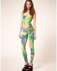 ASOS Collection  Unitard in Tie Dye Print - Lyst
