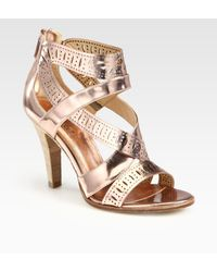 Belle By Sigerson Morrison Perforated Metallic Leather Sandals - Lyst