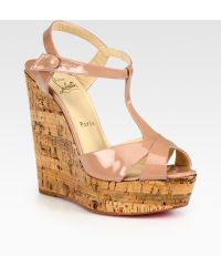 Christian Louboutin Patent Leather T-strap Cork Wedge Sandals - Lyst