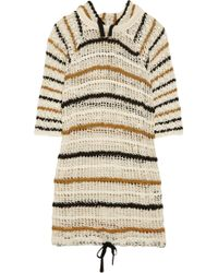Etoile Isabel Marant Clay Striped Hooded Crochet-knit Cotton Dress - Lyst