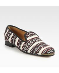 Cobra Society Najet Woven Wool and Leather Loafers black - Lyst