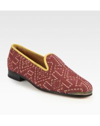 Cobra Society Najet Woven Leather-trim Loafers red - Lyst